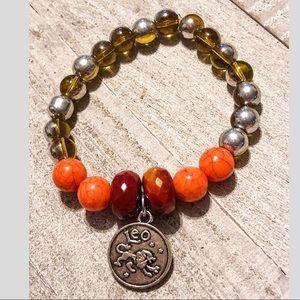 Leo Zodiac Sign Beaded Charm Bracelet